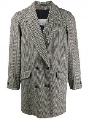Пальто 1980-х годов с узором в елочку Aquascutum Vintage. Цвет: черный