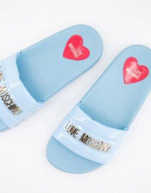 Голубые шлепанцы с мягким верхом и логотипом -Голубой Love Moschino