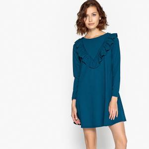 Платье короткое расклешенное с воланами COMPANIA FANTASTICA. Цвет: синий