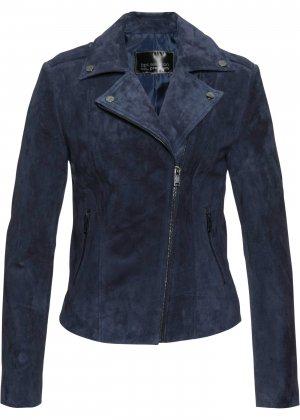 Куртка из натуральной замши bonprix. Цвет: синий