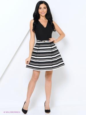 Платье с поясом EXPLOSION. Цвет: черный, белый