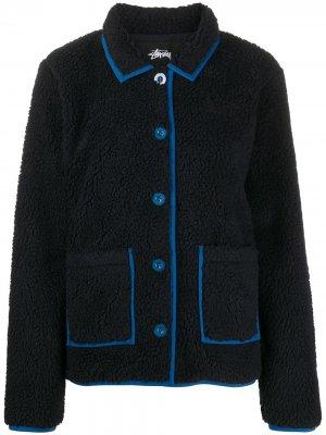 Двухцветная флисовая куртка Stussy. Цвет: черный