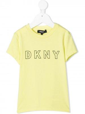 Футболка с логотипом Dkny Kids. Цвет: желтый