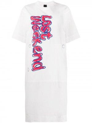 Платье-футболка с графичным принтом Bernhard Willhelm. Цвет: белый