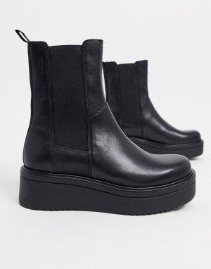 Черные кожаные ботинки челси на платформе -Черный цвет Vagabond