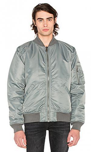 Летная куртка-бомбер из нейлона Schott. Цвет: серый