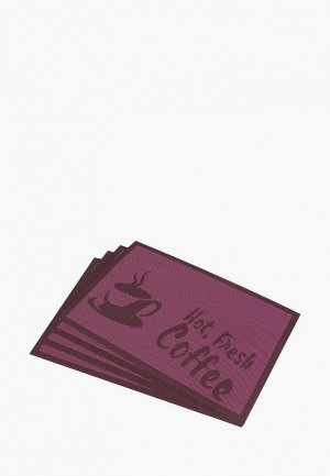 Комплект салфеток сервировочных El Casa. Цвет: фиолетовый