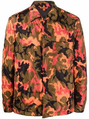Стеганая куртка-рубашка с камуфляжным принтом Barena. Цвет: оранжевый