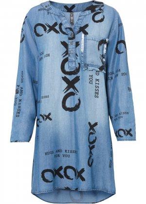 Платье джинсовое из лиоцелла TENCEL™ bonprix. Цвет: синий