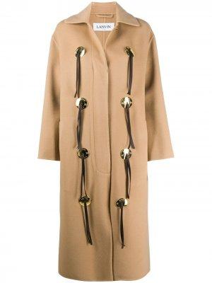 Пальто длины миди с декоративными пуговицами LANVIN. Цвет: коричневый