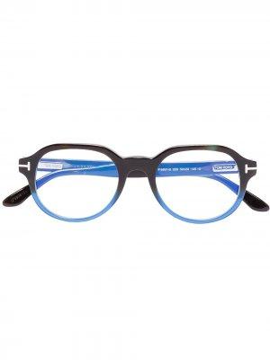 Очки FT5697-B в круглой оправе TOM FORD Eyewear. Цвет: черный