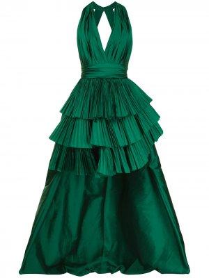 Платье с глубоким вырезом и плиссировкой Elie Saab. Цвет: зеленый