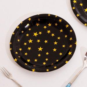 10шт 7-дюймовый с принтом звезды Одноразовая тарелка SHEIN. Цвет: многоцветный