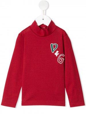 Джемпер с вышитым логотипом Dolce & Gabbana Kids. Цвет: красный