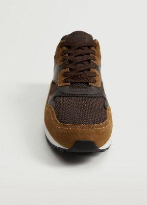 Комбинированные кроссовки из кожи - Runsoft Mango. Цвет: коричневый