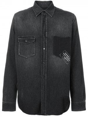 Джинсовая рубашка в стиле вестерн с надписью Saint Laurent. Цвет: черный