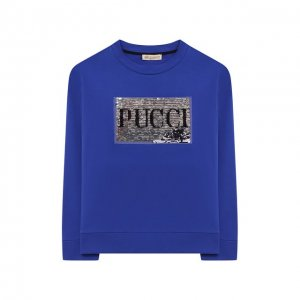 Хлопковый свитшот Emilio Pucci. Цвет: синий