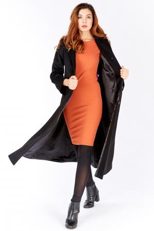 Длинное женское пальто трапеция на большой рост из шерсти Elisabetta. Цвет: черный