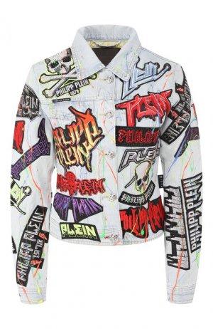 Джинсовая куртка Philipp Plein. Цвет: серебряный