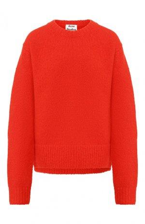 Пуловер из смеси шерсти и кашемира Acne Studios. Цвет: красный