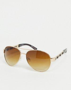 Золотистые солнцезащитные очки-авиаторы с цепочкой -Золотой Accessorize