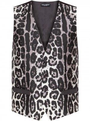 Жилет с леопардовым принтом Dolce & Gabbana. Цвет: черный