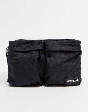 Черная нейлоновая сумка-кошелек на пояс с двумя карманами -Черный French Connection