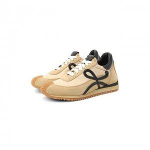 Комбинированные кроссовки Loewe. Цвет: бежевый