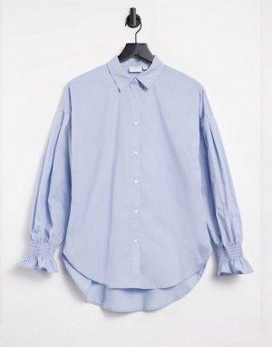 Голубая хлопковая рубашка с отделкой на манжетах -Голубой Vila