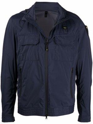 Куртка с нашивкой-логотипом Blauer. Цвет: синий
