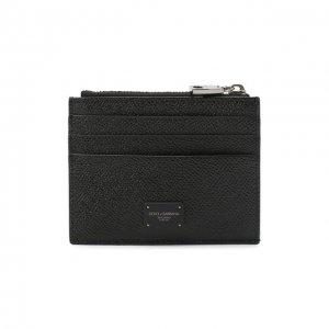 Кожаный футляр для кредитных карт Dolce & Gabbana. Цвет: чёрный