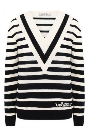 Шерстяной пуловер Valentino. Цвет: синий