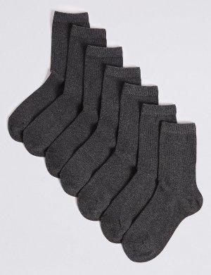Носки детские (7 пар), серый меланж Marks & Spencer. Цвет: плотный серый