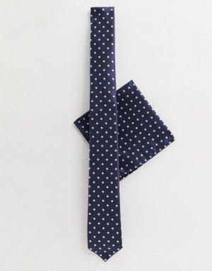 Галстук и платок для пиджака в горошек -Темно-синий Harry Brown