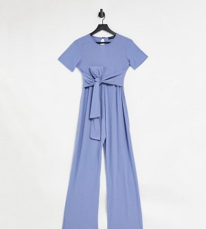 Голубой комбинезон в рубчик с поясом x Dani Dyer In The Style Maternity