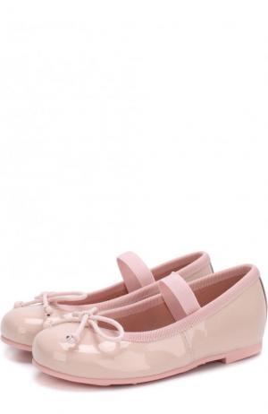 Лаковые балетки с бантами и перемычкой Pretty Ballerinas. Цвет: розовый