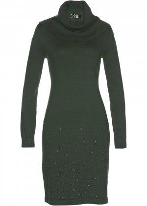 Платье вязаное bonprix. Цвет: зеленый