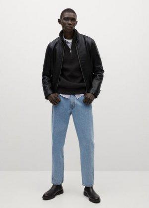 Кожаная байкерская куртка с молниями - Cuir Mango. Цвет: черный