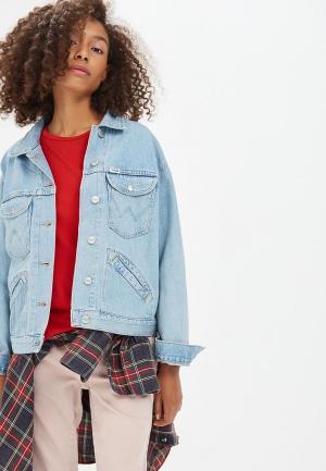 Куртка джинсовая Wrangler WR224EWBOHT5. Цвет: голубой