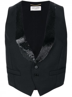 Укороченный жилет по фигуре Saint Laurent. Цвет: черный