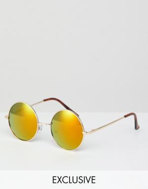 Солнцезащитные очки в круглой оправе эксклюзивно для ASOS-Золотой Reclaimed Vintage