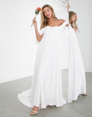 Свадебное платье со сборками и драпировкой на рукавах Jasmine-Белый ASOS EDITION