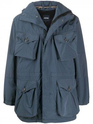 Куртка с карманами карго и капюшоном Aspesi. Цвет: синий