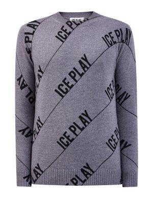 Пуловер из меланжевой пряжи с контрастным принтом ICE PLAY. Цвет: серый