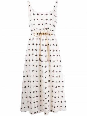Платье без рукавов с принтом Alysi. Цвет: белый