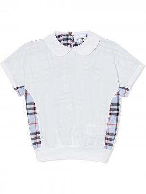 Рубашка-поло с клетчатыми вставками Burberry Kids. Цвет: белый