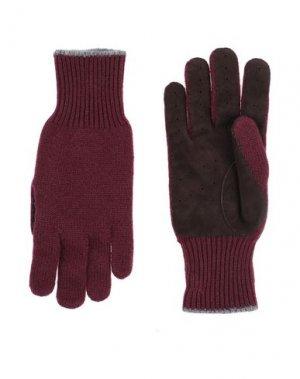 Перчатки BRUNELLO CUCINELLI. Цвет: красно-коричневый