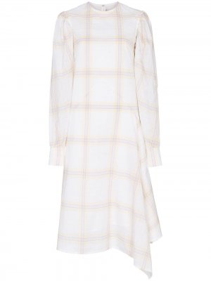 Платье миди в клетку Calvin Klein 205W39nyc. Цвет: нейтральные цвета