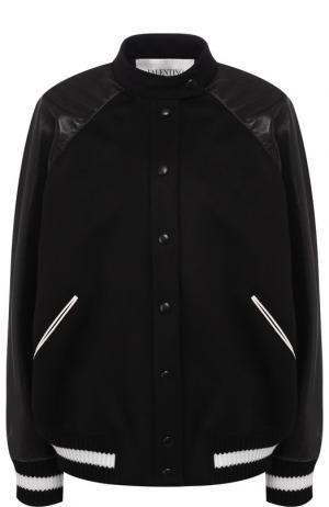 Бомбер из смеси шерсти и кашемира с контрастной отделкой воротником-стойкой Valentino. Цвет: чёрный