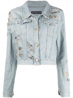 Декорированная джинсовая куртка 1980-х годов A.N.G.E.L.O. Vintage Cult. Цвет: синий